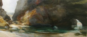 Sarah Adams, Maas Gallery 2007, Spring Tide 1, oil on linen, diggory's Island, bedruthan steps, Cornwall
