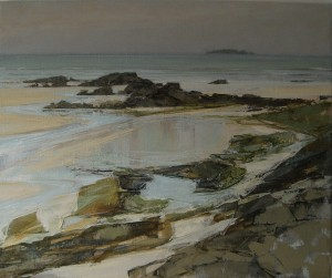 "Sarah Adams, Harlyn to Gulland: low tide, oil on linen, 20"" x 24"""