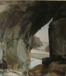 Sarah Adams, Porthmissen Bridge, painting exhibited at the Maas Gallery